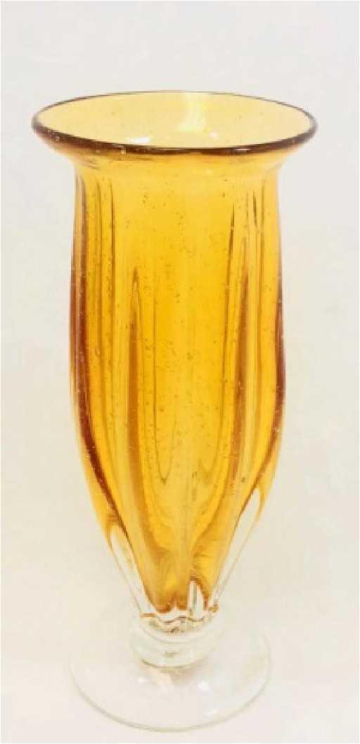 Amber Vintage Bubble Glass Murano Vase