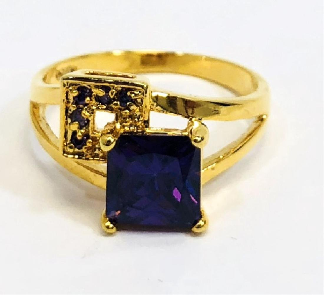 DEEP AMETHYST SQUARE CUT ESTATE RING