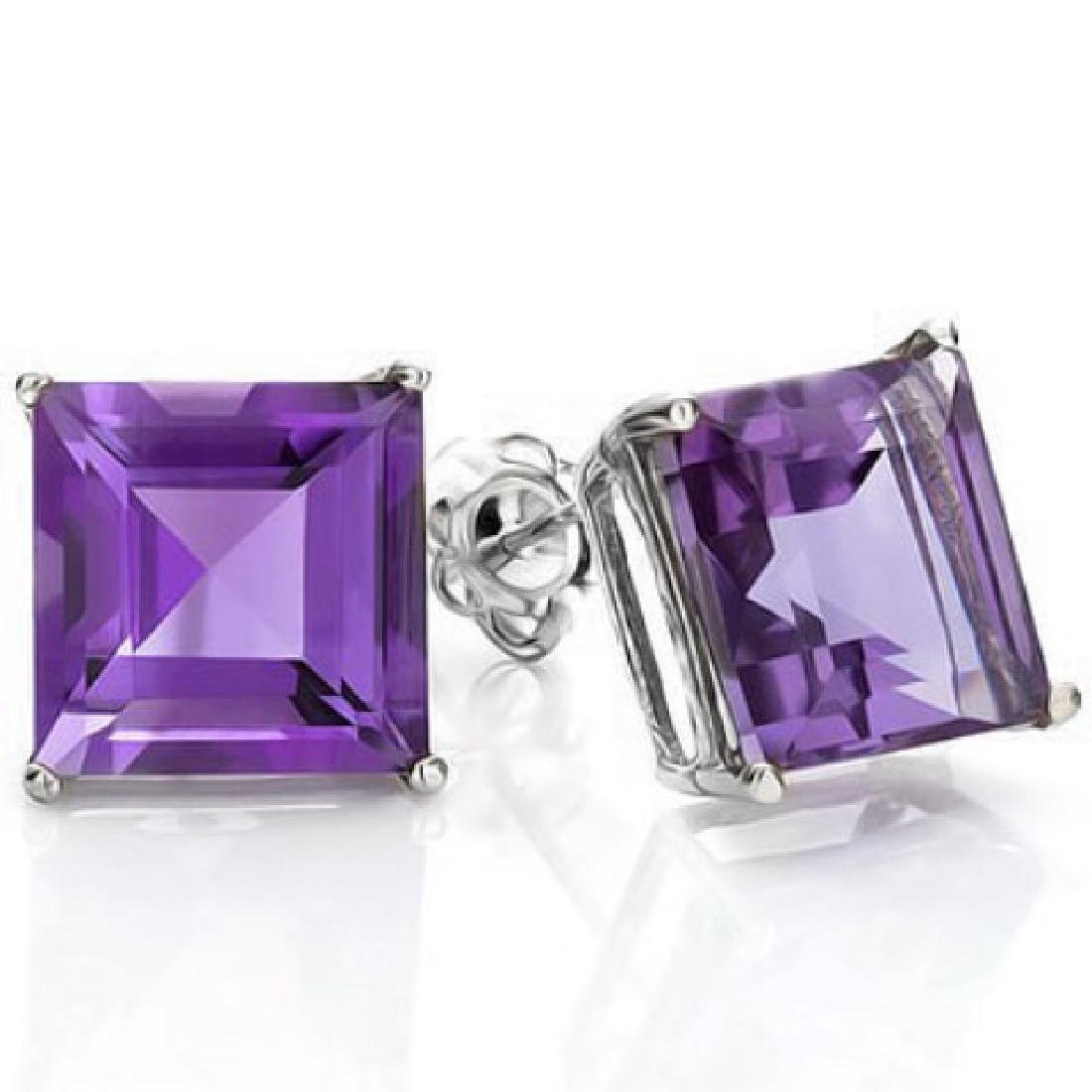 2CT PRINCESS CUT LAVENDAR AMETHYST EARRINGS