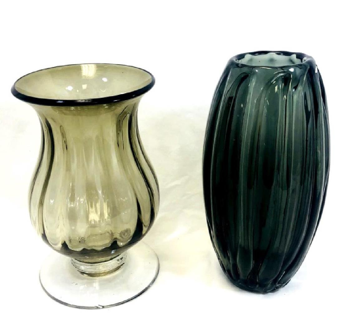 LOT OF 2 VINTAGE MURANO GREY GLASS DECO VASES