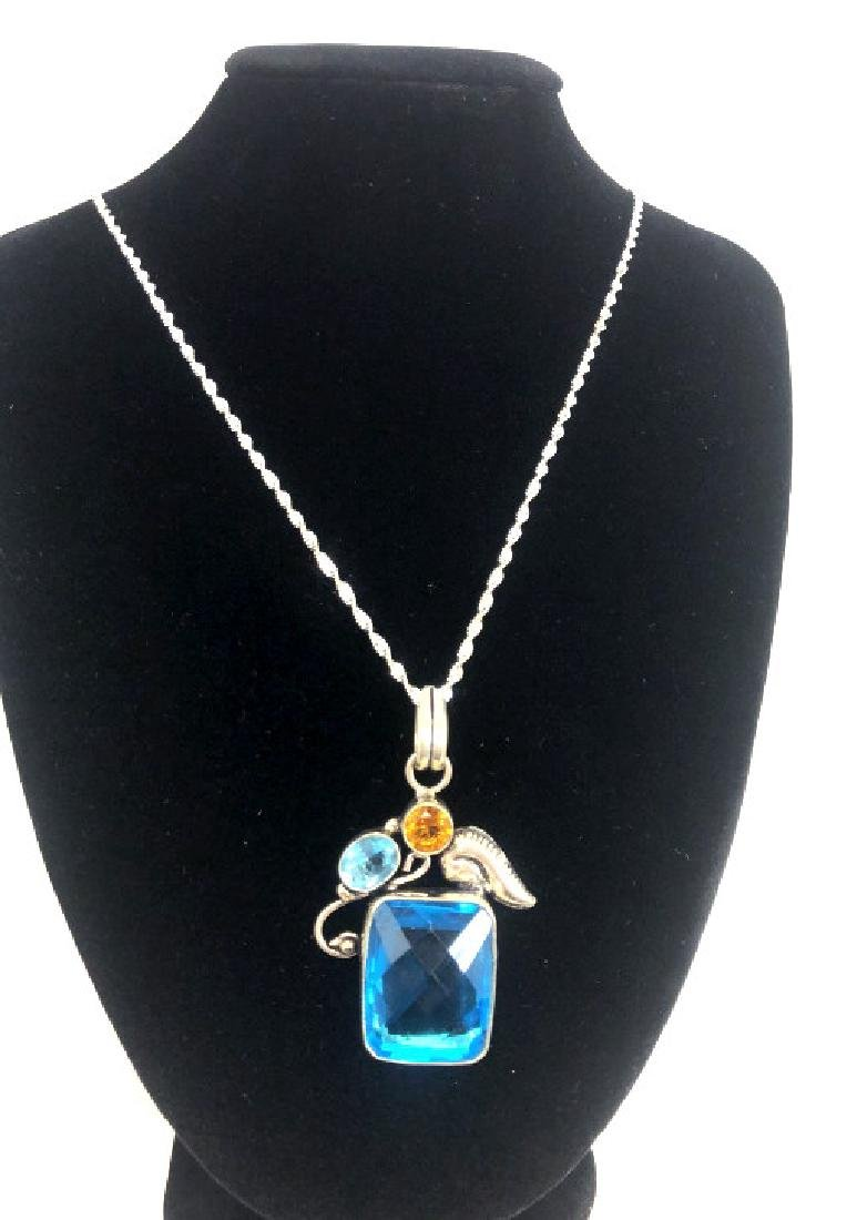 HUGE FACETED 30CT BLUE TOPAZ DECO PENDANT NECKLACE