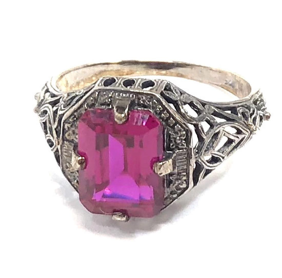 VINTAGE 3CT RUBY STERLING FILIGREE RING