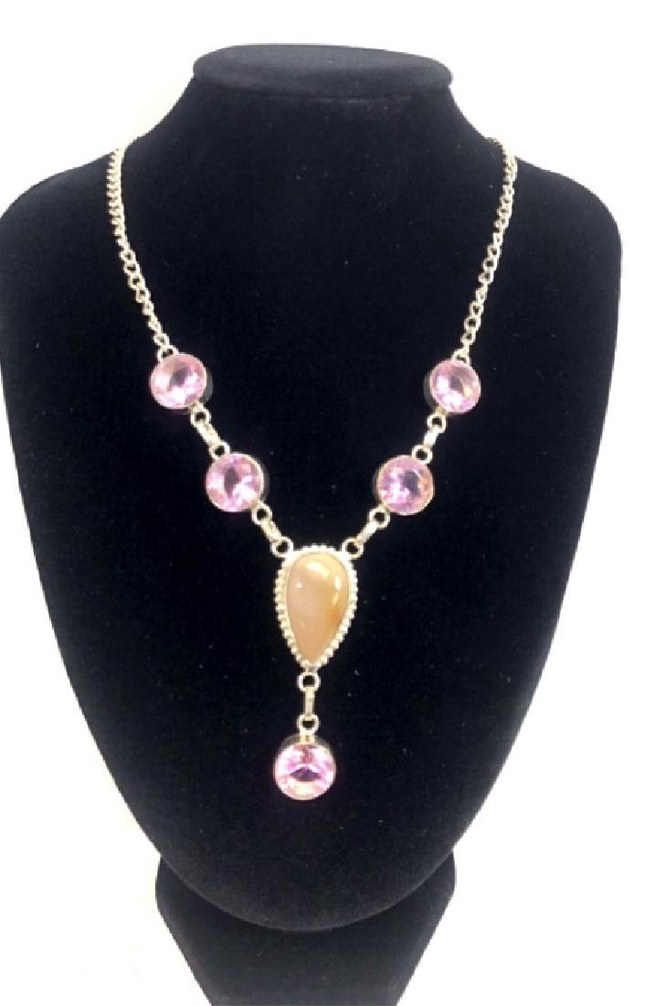 FABULOUS DENDRITE/PINK KUNZITE GEMSTONE NECKLACE