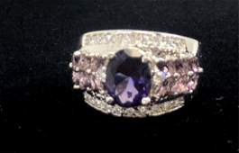 ART DECO 3CT AMETHYST STERLING SILVER RING