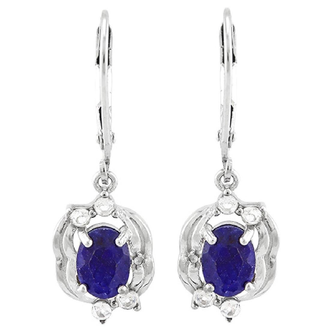 ANTIQUE STYLE SAPPHIRE DANGLE STERLING EARRINGS