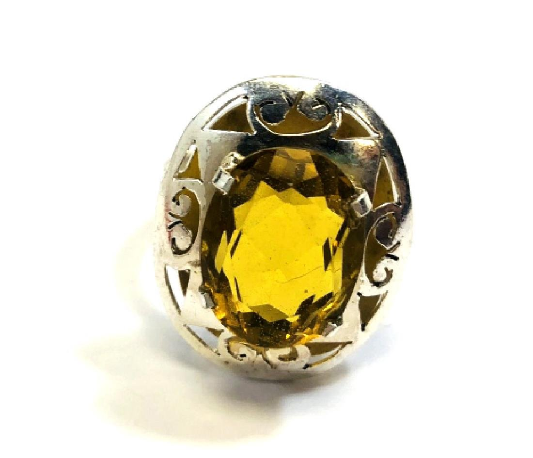 GIANT 10CT YELLOW QUARTZ DECO GEMSTONE RING