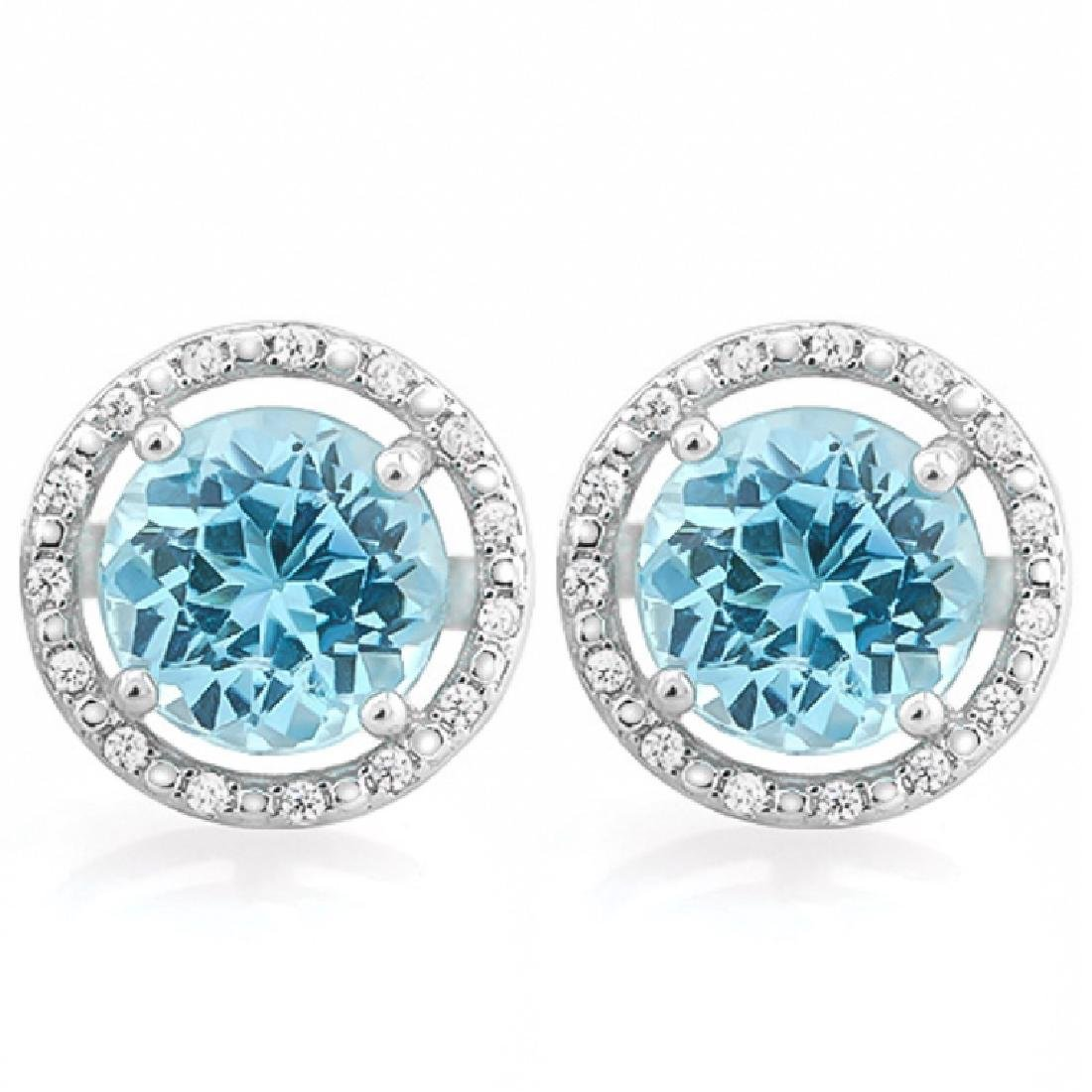 GLAM 4CT BLUE TOPAZ/DIAMOND HALO EARRINGS