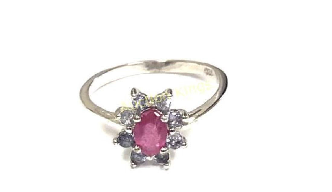 CLASSIC RUBY/TANZANITE FLOWER GEMSTONE RING