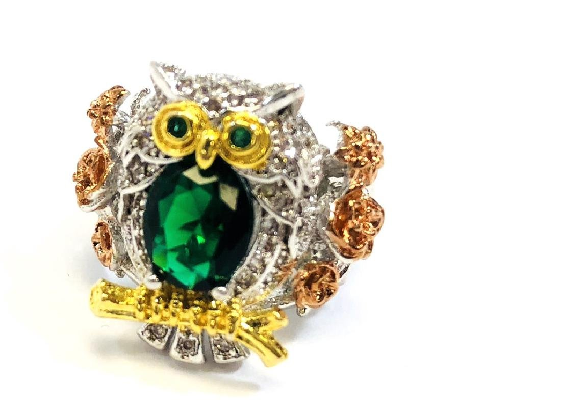 UNIQUE EMERALD QUARTZ OWL COCKTAIL RING
