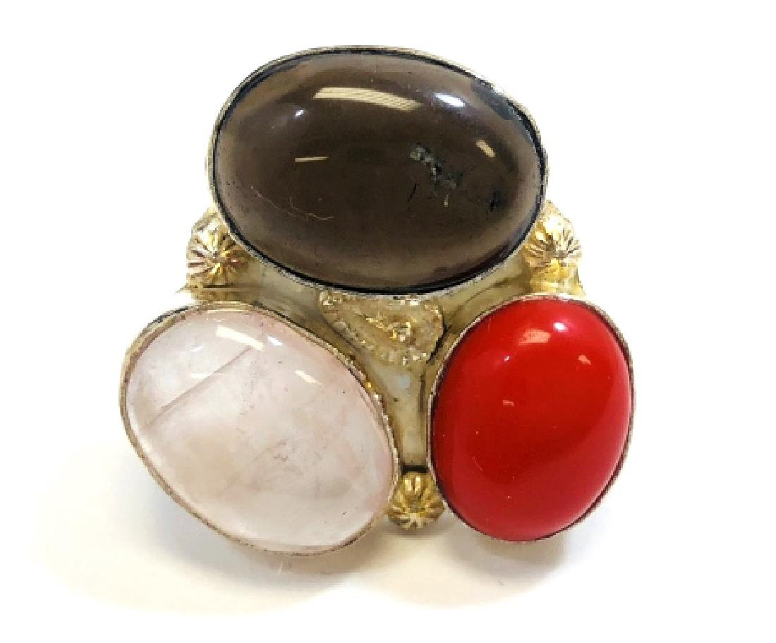 UNIQUE ONYX, CORAL AND QUARTZ STERLING RING