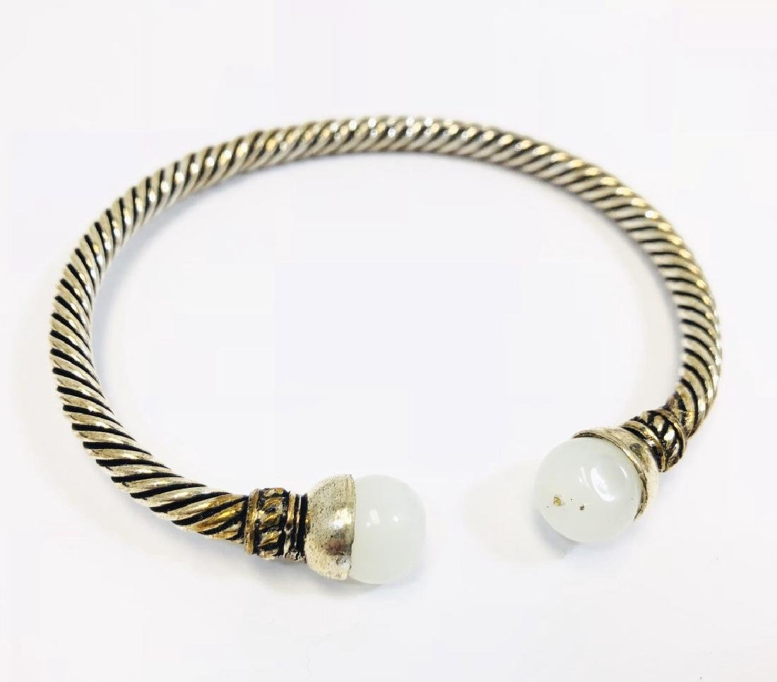 COOL MOONSTONE ACCENT BRAIDED CUFF BRACELET
