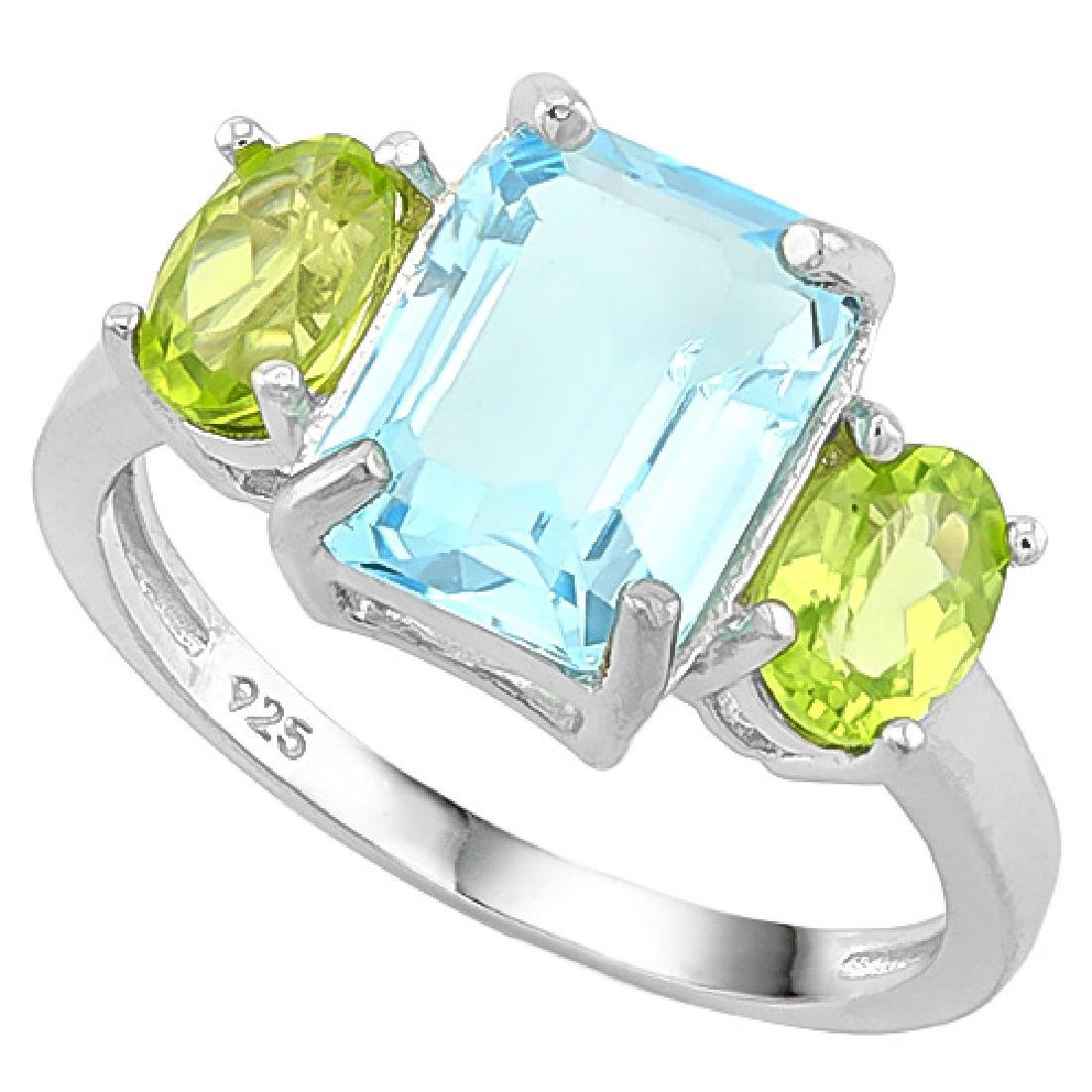 4CT STUNNING EMERALD CUT BLUE TOPAZ/PERIDOT RING