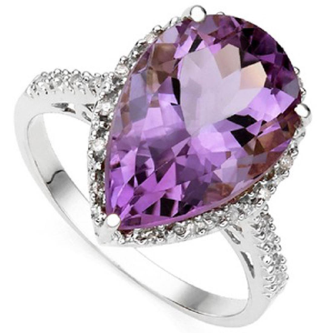 5CT PEAR CUT DEEP AMETHYST SOLITAIRE ESTATE RING
