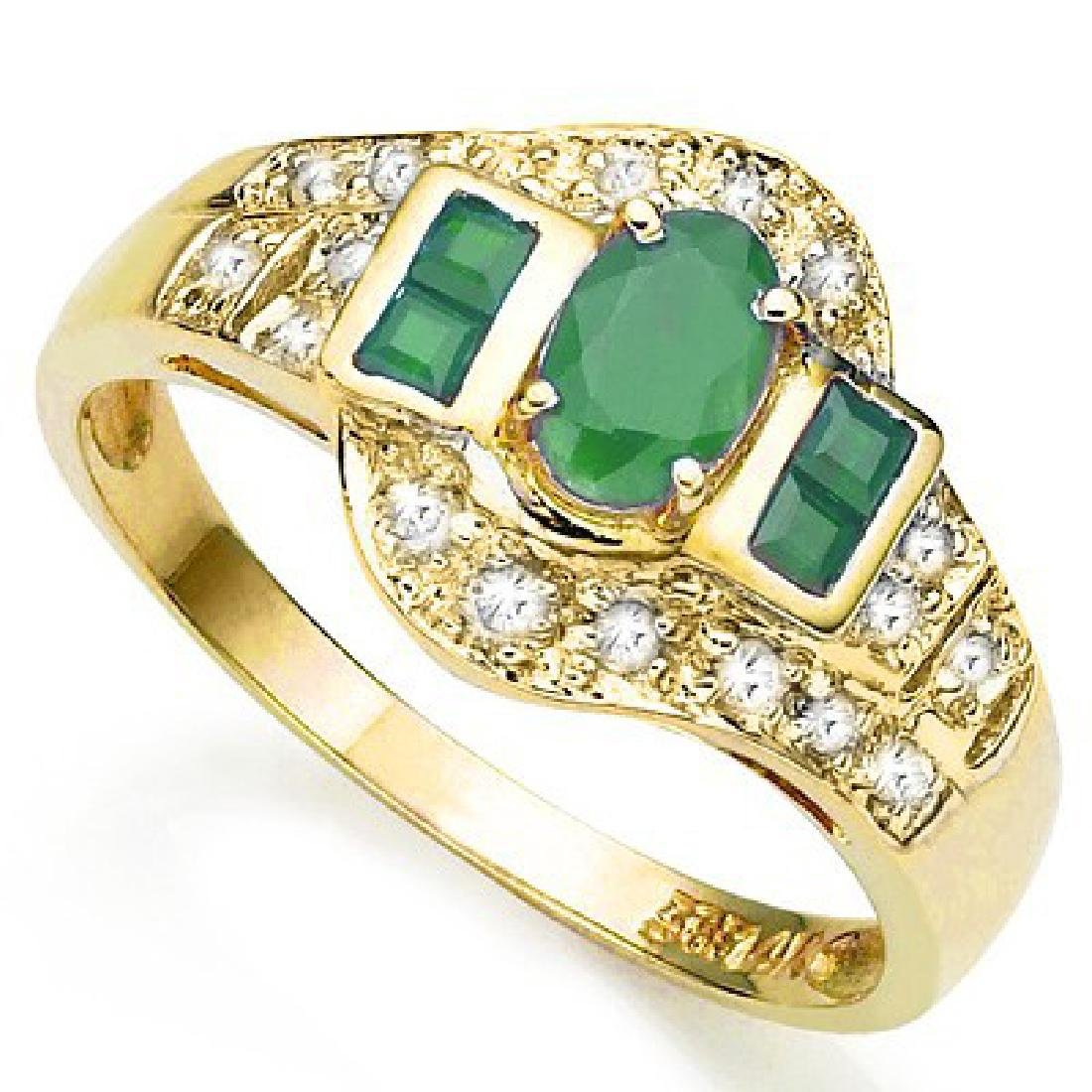 BEAUTIFUL 10K GOLD GENUINE EMERALD/DIAMOND RING