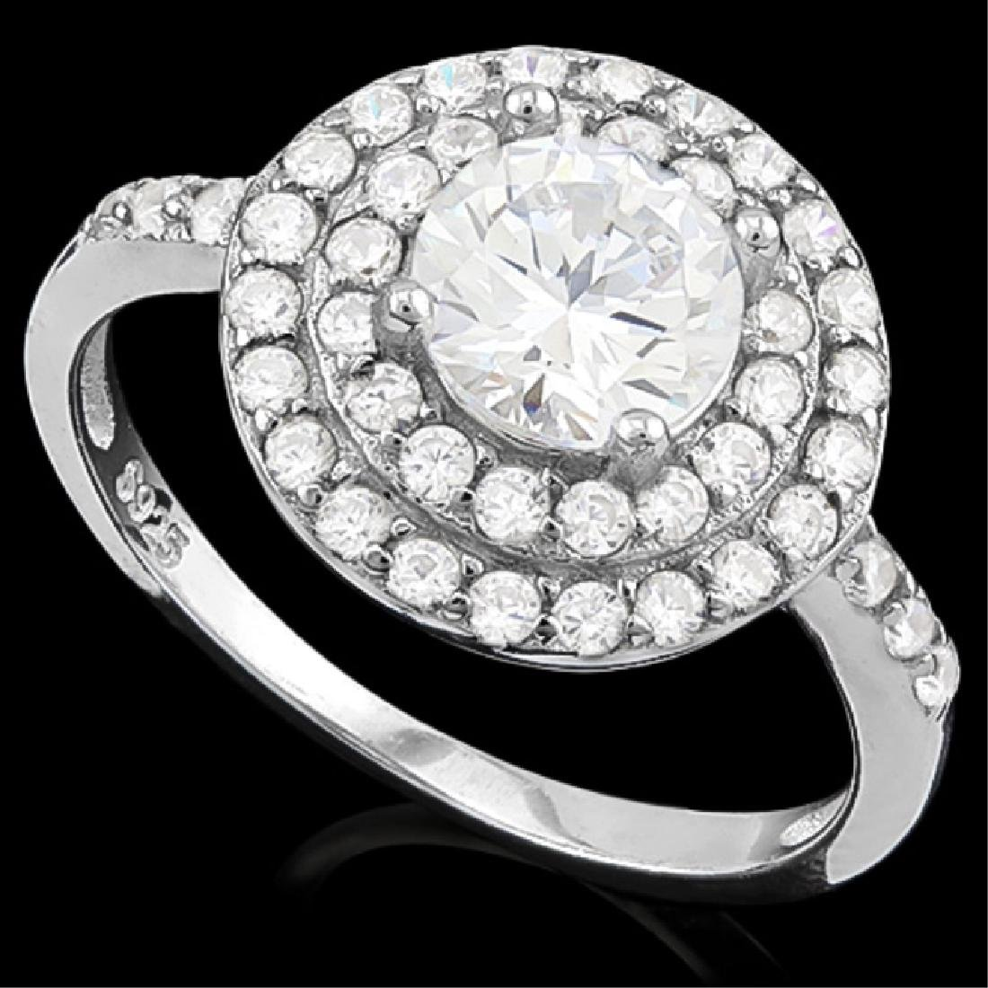 SPECIAL 2CT CZ STERLING HALO STYLE RING