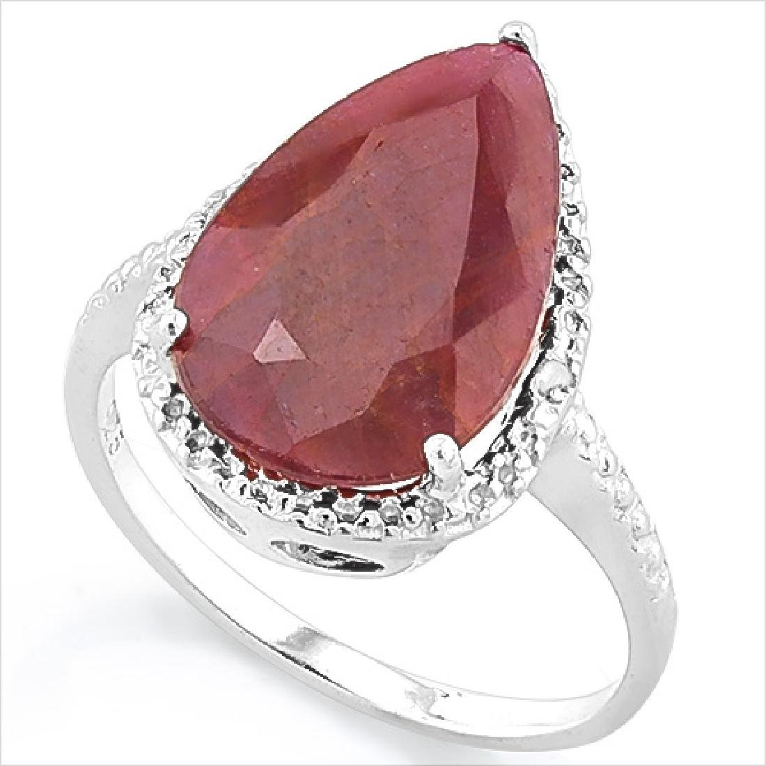 HUGE 6CT PEAR CUT GIANT RUBY/DIAMOND STERLING RING