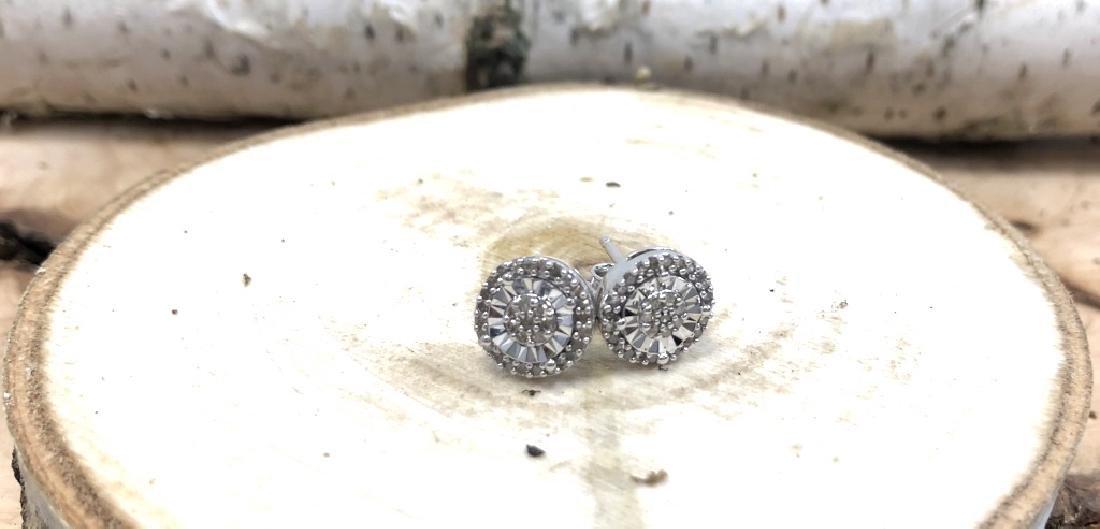 GORGEOUS GENUINE DIAMOND HALO STERLING EARRINGS