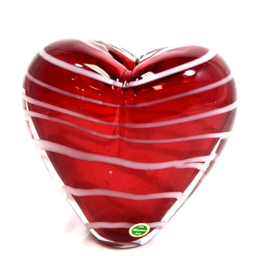 LOVELY MURANO RED HEART GLASS VASE