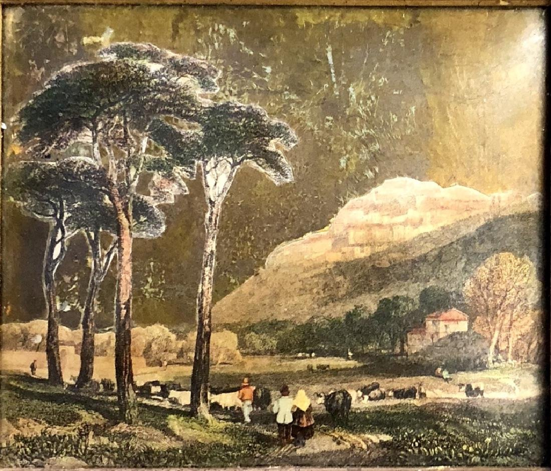 ANTIQUE FRENCH DECOUPAGE PAINTING