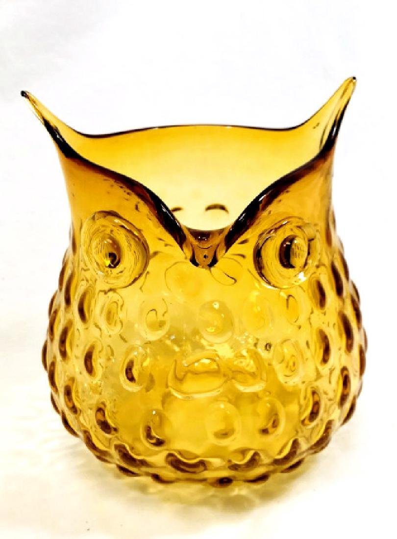 VINTAGE AMBER GLASS OPEN OWL VASE