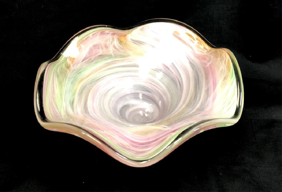 PRETTY VINTAGE PASTEL MURANO RUFFLE GLASS BOWL