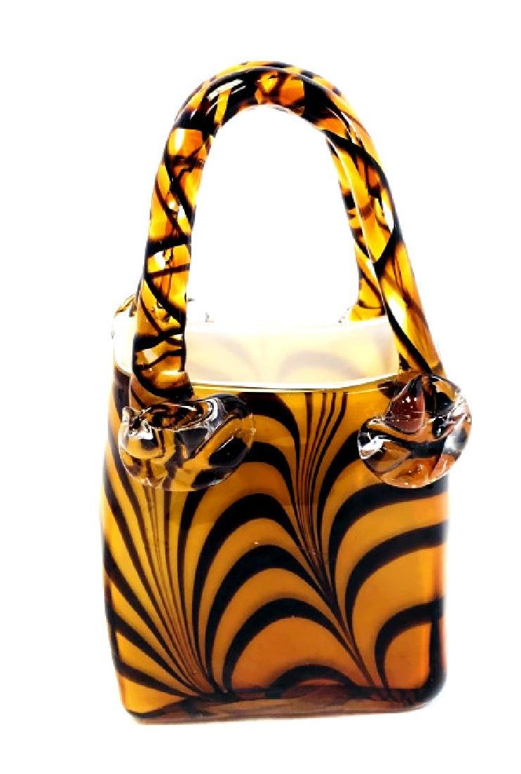 PRETTY PULLED LINES MURANO AMBER GLASS PURSE