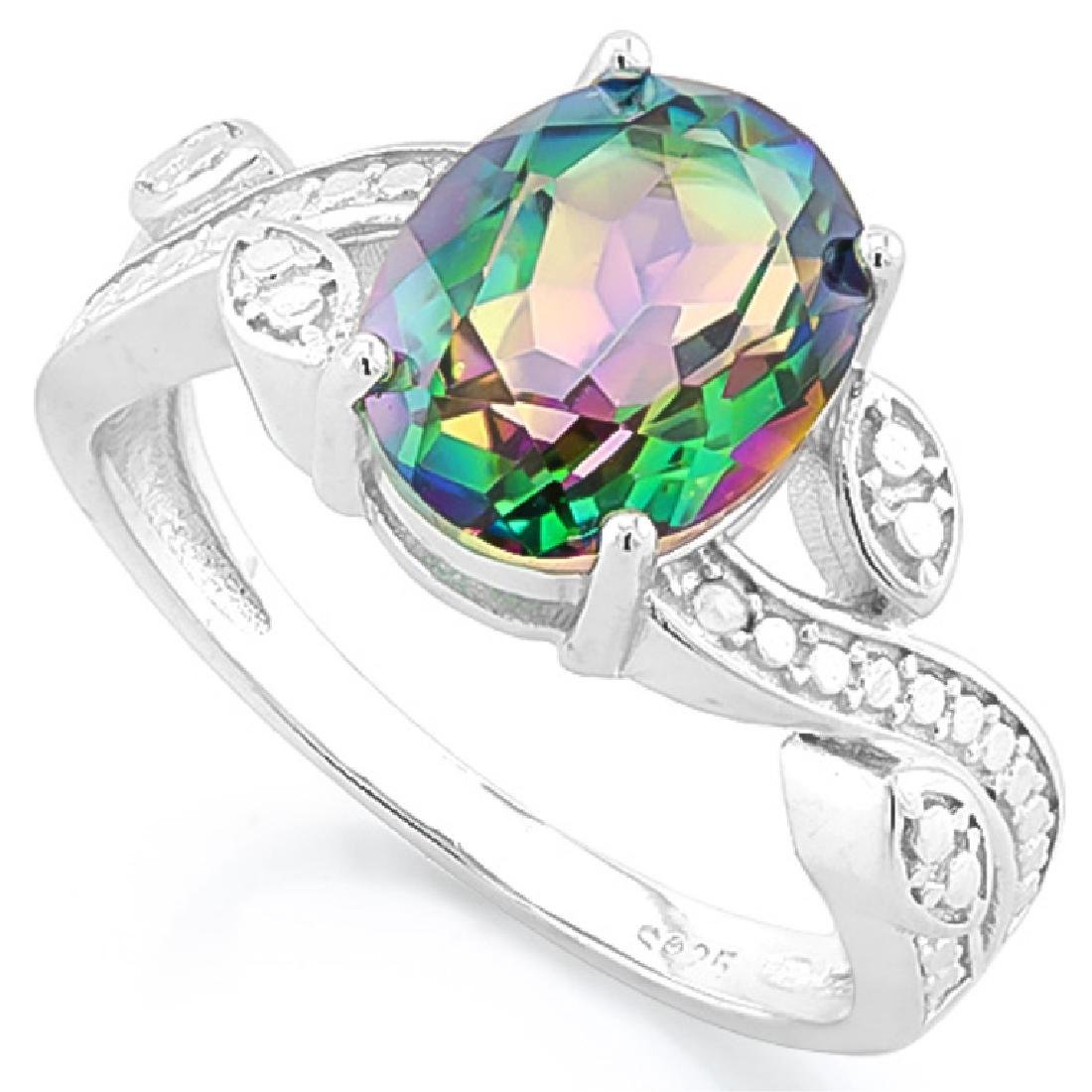 UNIQUE PINK/GREEN MYSTIC TOPAZ GEMSTONE RING