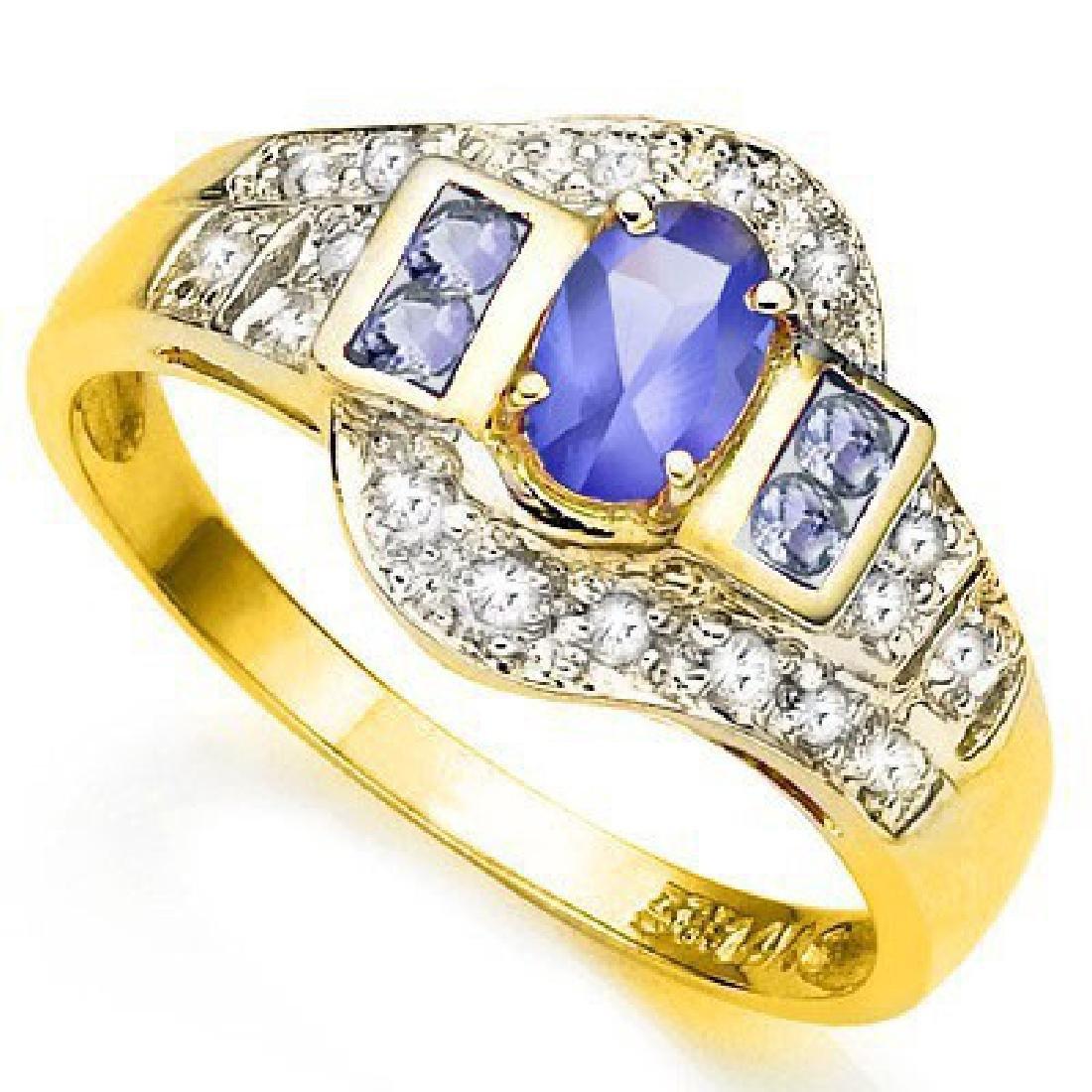 ELITE 10K GOLD GENUINE .45CT TANZANITE/DIAMOND RG