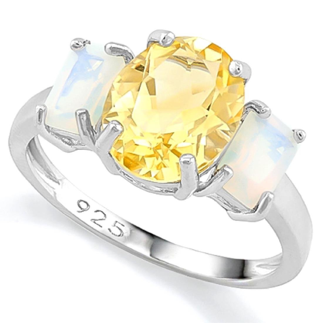 UNIQUE GOLDEN CITRINE/FIRE OPAL TRIPLE STONE RING