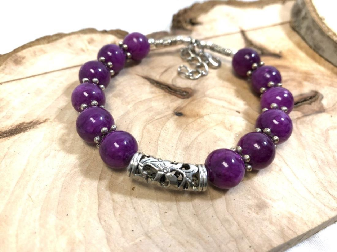 LADIES PRETTY PURPLE JADED BEADED BRACELET