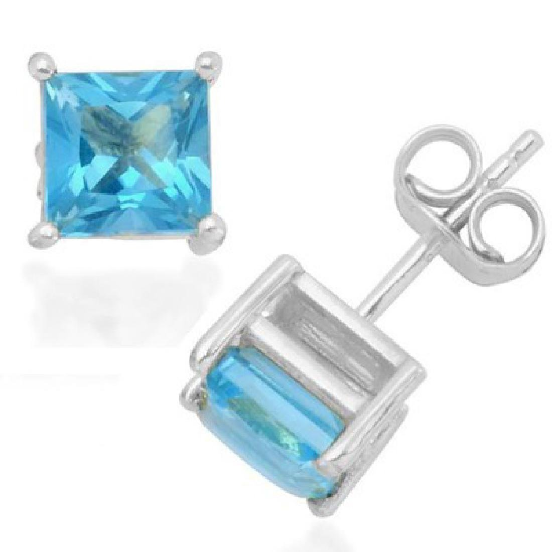 PRETTY 2CT PRINCESS CUT BLUE TOPAZ EARRINGS