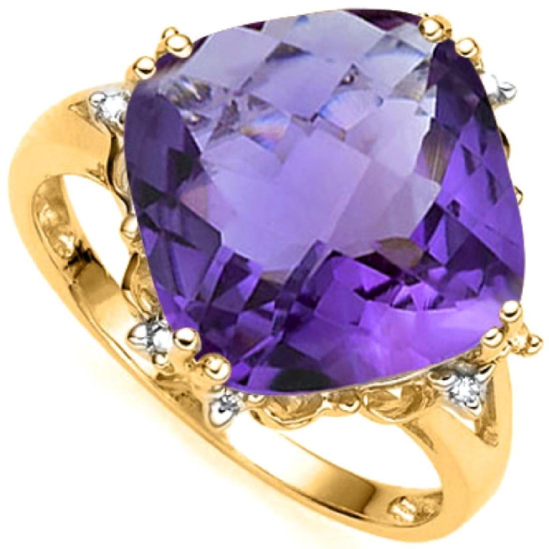 STUNNING 10K GOLD BRIGHT 6CT AMETHYST/DIAMOND RING