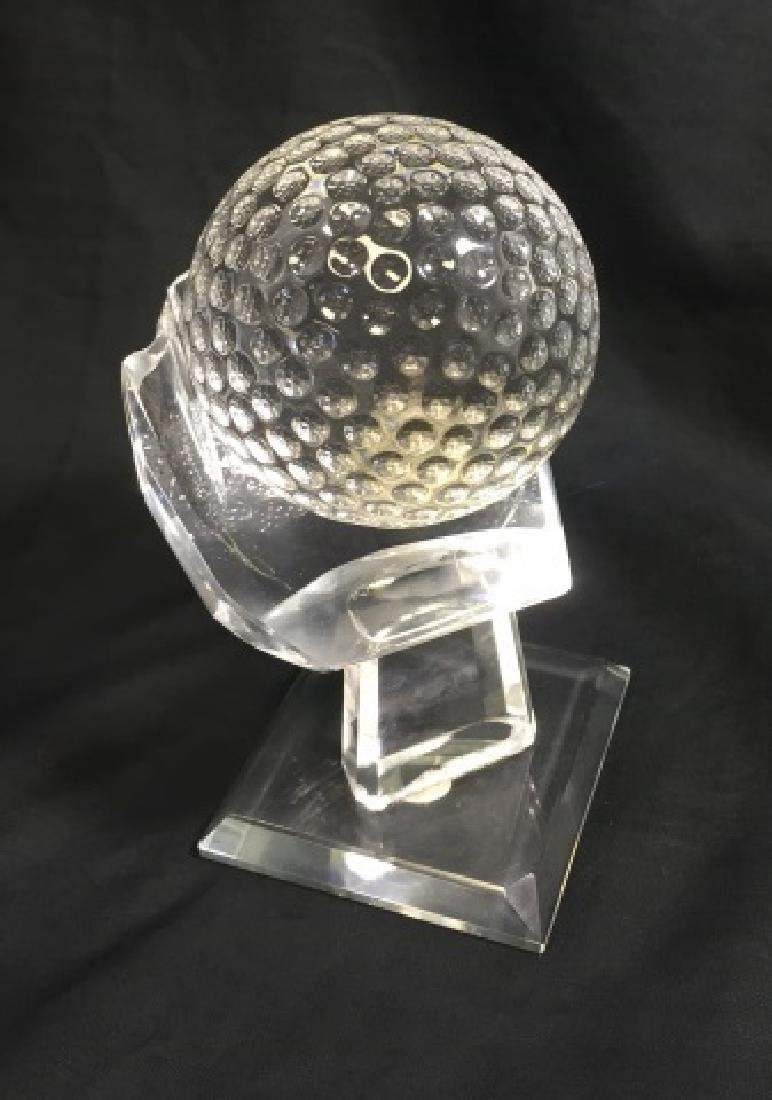 ELEGANT CRYSTAL GOLF BALL ON STAND PAPERWEIGHT