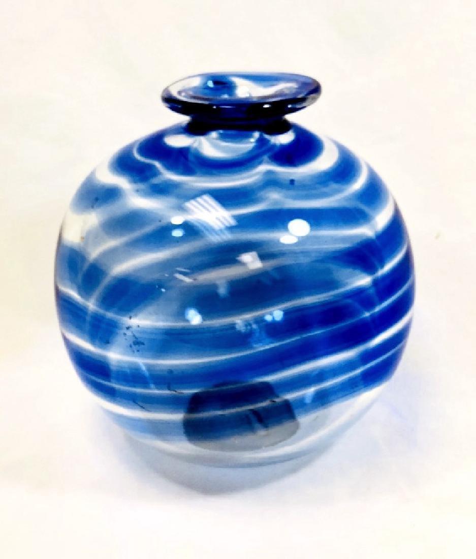 BEAUTIFUL BLUE HEAVY MURANO SWIRL VASE
