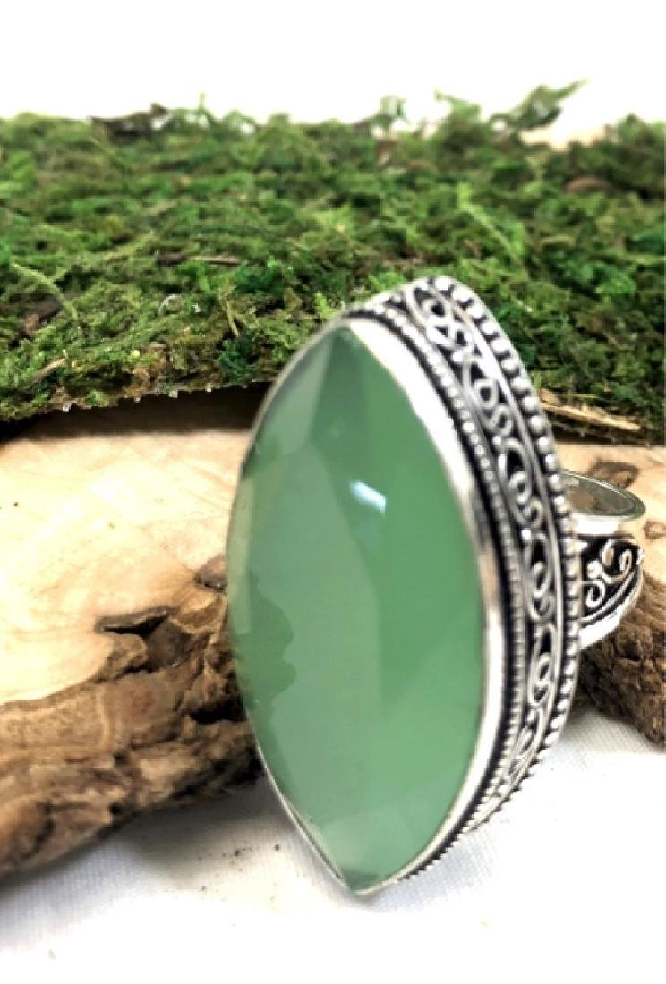 HUGE FACETED 20CT GREEN CHALCEDONY GEM COCKTAIL RG