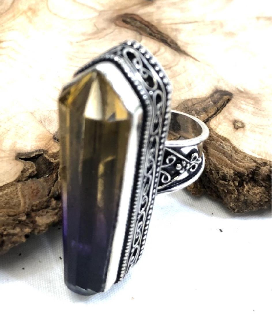 AMAZING HAMNDMADE AMETRINE GEMSTONE STERLING RING