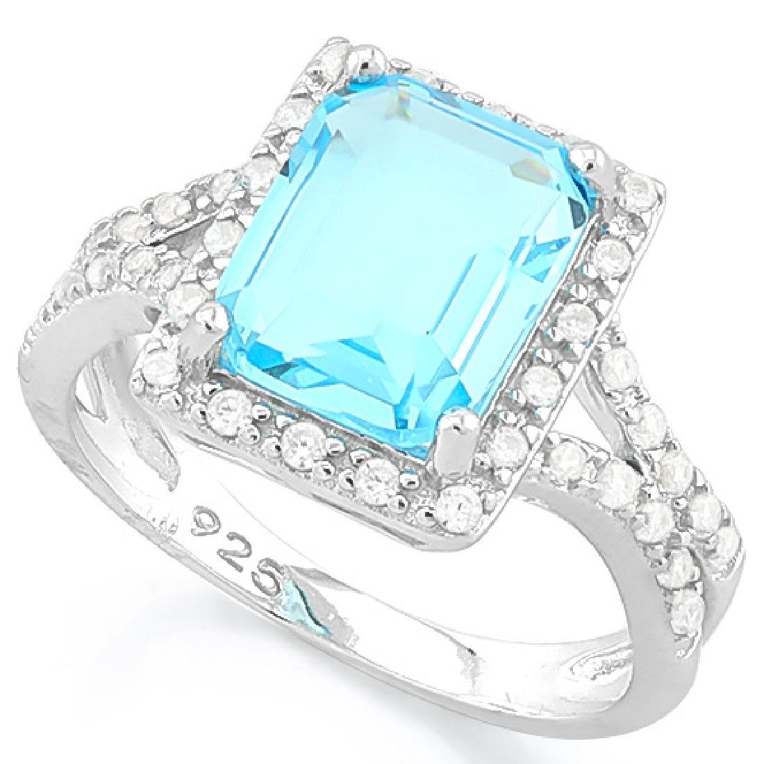 FLAWLESS 3CT EMERALD CUT BLUE TOPAZ STERLING RING