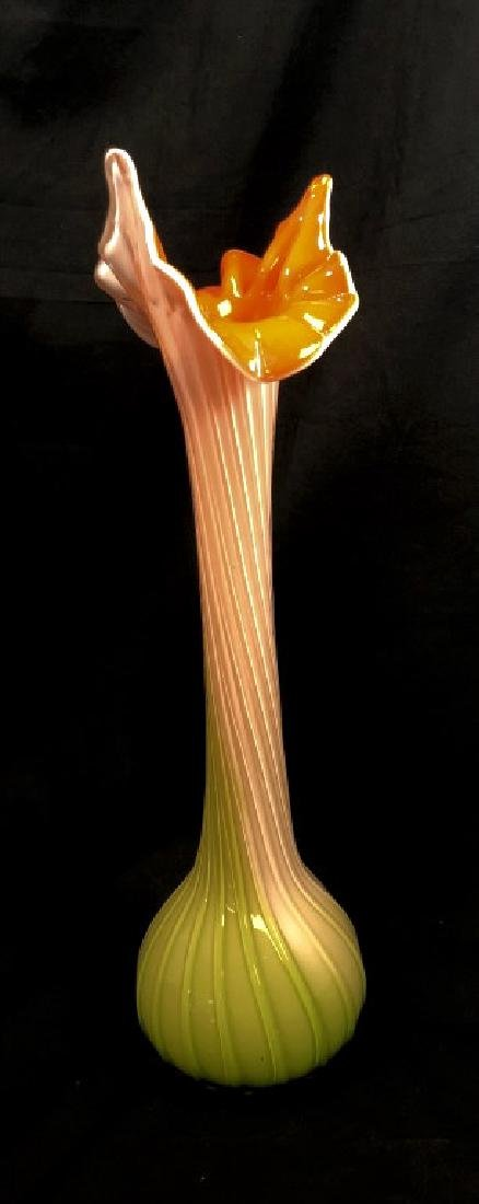 VINTAGE MURANO JACK IN PULPIT ORANGE/GREEN VASE