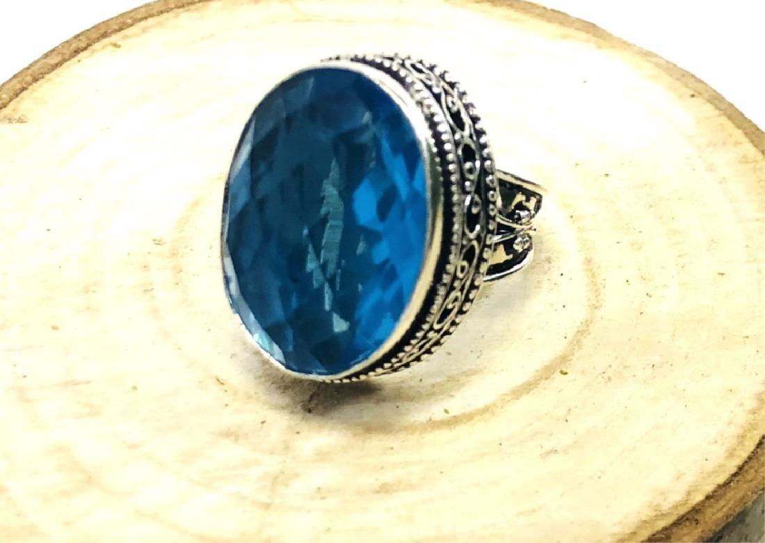 HUGE 18CT FACETED LONDON BLUE TOPAZ COCKTAIL RING