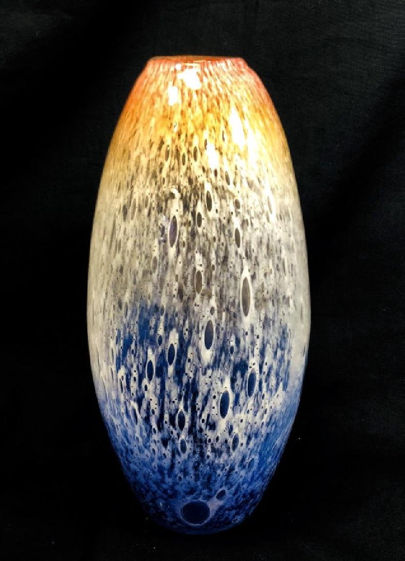 HANDMADE MURANO GLASS ORANGE/WHITE/BLUE VASE