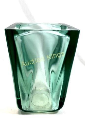 AMAZING VINTAGE HEAVY BLOCK GREEN GLASS VASE
