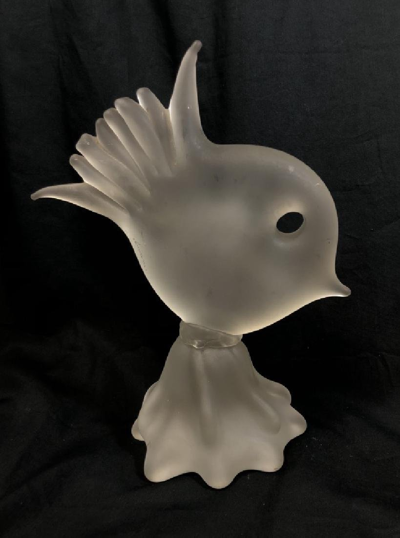 VINTAGE HEAVY FROSTED GLASS FISH SCULPTURE