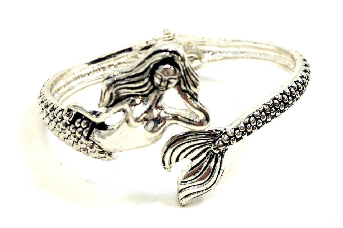 TRENDY SILVERTONE MERMAID BANGLE BRACELET
