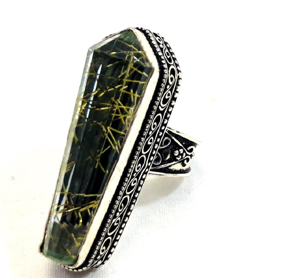 COOL GOLDEN RUTILE FACETED GEMSTONE RING