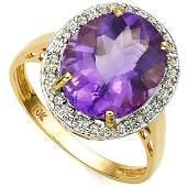 LOVELY 10K GOLD LAVENDAR AMETHYST/DIAMOND RING