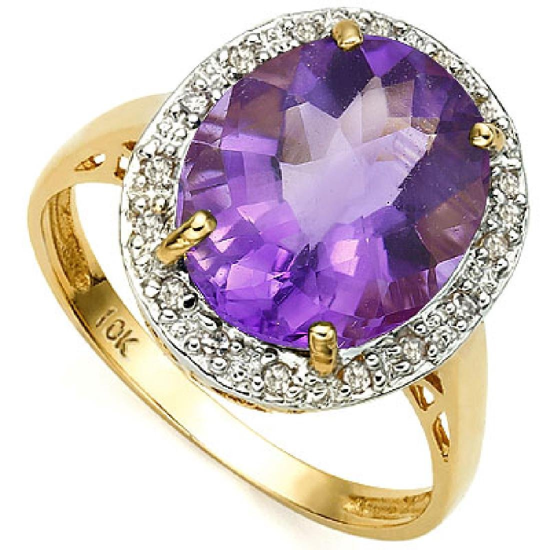 LOVELY 10K GOLD LAVENDAR AMETHYST/DIAMOND RING