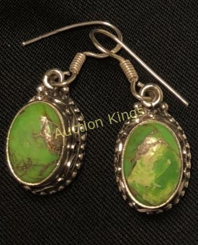 RARE 12CT GREEN TURQUOISE OVAL STERLING EARRINGS