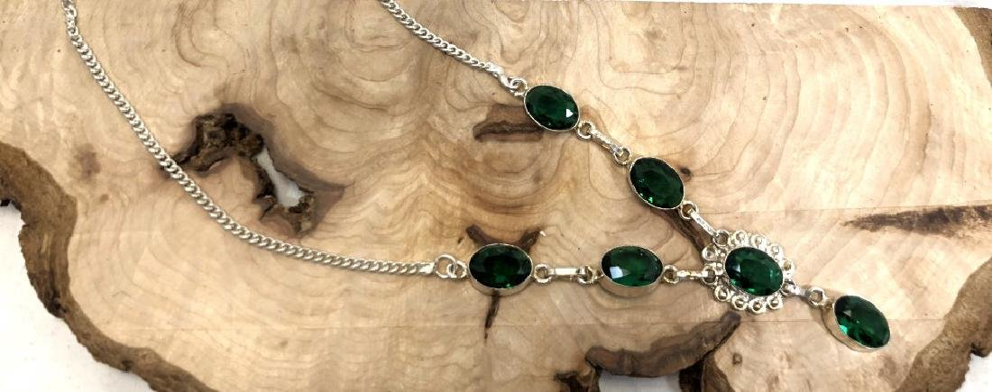 SMASHING GREEN TOURMALINE STERLING DECO NECKLACE