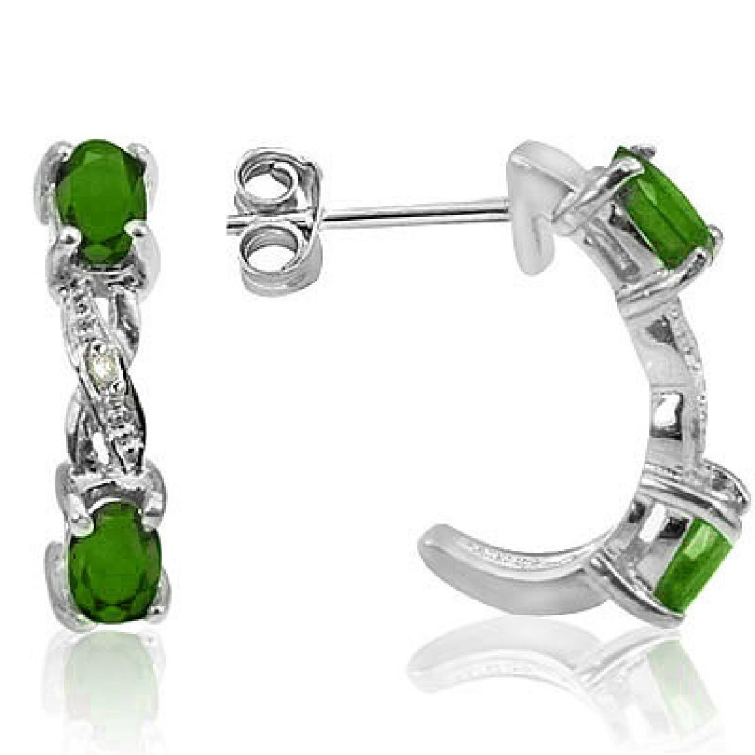 2CT EMERALD GEMSTONE STERLING HALF HOOP EARRINGS