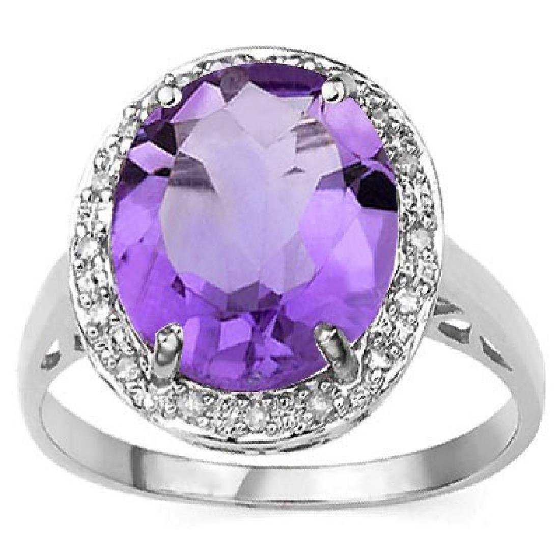 LOVELY RAISED SETTING OVAL 4CT AMETHYST RING